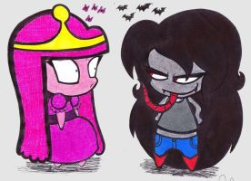 marceline and bubblegum chibis by SweetCupcakeLove