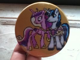 A Wild Cadance nd Shining Armor Pixel Pin Appeared by Kevfin
