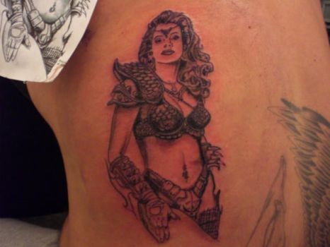 red sonja tattoo pin up by bigalalal
