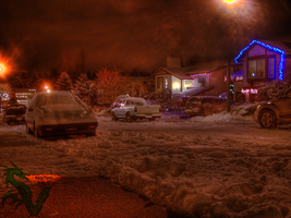 Night Street Snow HDR by shilpinator