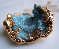 Blue Druzy Necklace : Aqua Aura Mushroom Druzy Dru by 443Jewelry