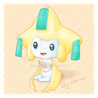 Jirachi holding a Mew plush by majoura