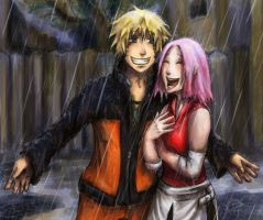 Naruto and Sakura: Raining by Jassikorandoms