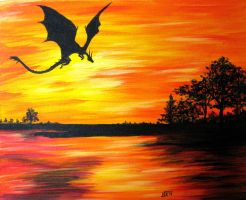 Dragon at Sunset by Umberink