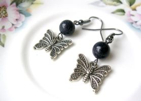 blue goldstone butterfly earrings by faranway