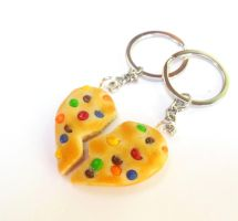 polymer clay rainbow chip cookie bff keychains by ScrumptiousDoodle
