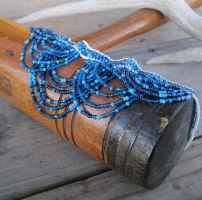 Something Blue Fringed Choker by TarpanBeadworks