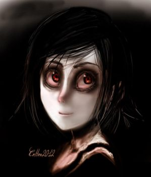A girl with red eyes by CottonValent