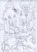 HalloweenSisters LeenAndNanami by nevarkun