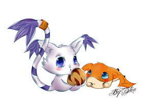 Gatomon and Patamon by BlackBodyElectric