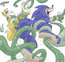 Sonic n'TailsTentacleTickling by PawFeather