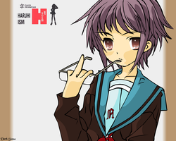 Nagato Yuki with middle finger by maskawaih