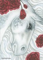 ACEO - Horse Flowers - Roses by vashley