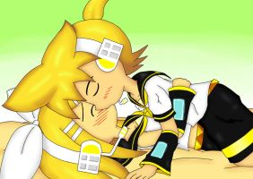 Rin Len Kissing by irzhie