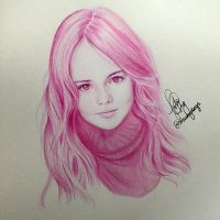 Monochromatic Drawing of Kristina Pimenova  by iJolene
