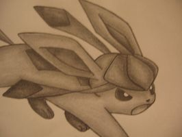 Glaceon Drawing- Head shot by sazmullium