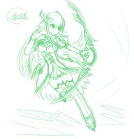 Request:Elsword Rena/Grand Archer Sketch by Monusha