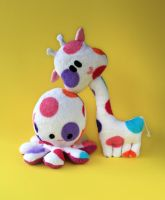 Pika and Dotty - plushies with colorful dots by FizziMizzi