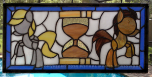 Ponies of Time and Space Stained Glass Panel by FoobWhisperer