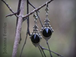 Black Gothic Victorian Silver Earrings by Johanna-Ferrius