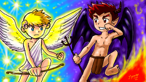 P-Chat: little Angel and Devil by MarioRoz