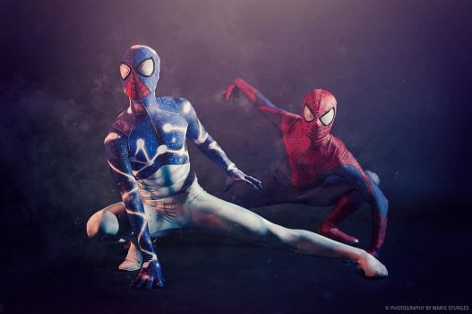 Cosmic Spider-Man and the Amazing Spider-Man by mariesturges