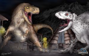 Jurassic World: T Rex Face-off by thescifiartist