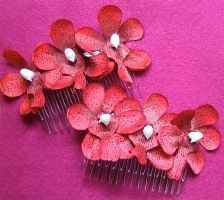 Hair combs - Red flowers by rascalkosher