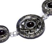 Cyberpunk Necklace Dark Garnet by CatherinetteRings
