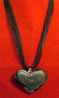 Silver Heart Ribbon Necklace by BloodRed-Orchid