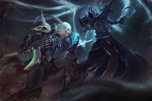 Necromancer Vs Malthael by raikoart