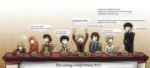 Superwholock - Pie eating competition by Star-Jem