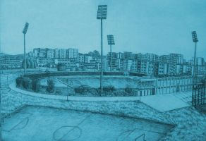 Drawing -  Panorama Of The City Stadium (05) by eduaarti