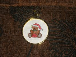 Cross Stitch Christmas Bear with letter by Enithien