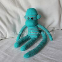 Turquoise Mini Sock Monkey by bicyclegasoline