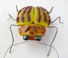 Colorado Potato Beetle  Fused Glass Sculpture 4 by trilobiteglassworks