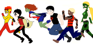 Young Justice Group by Cassmonsta