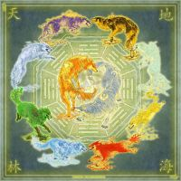 Element Wolves by yuumei by Elemental-Wolfpack