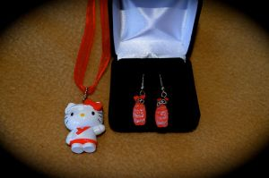Hello Kitty Sushi Earrings and Necklace Set by marlipaige