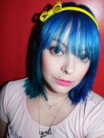 My new green blue split hair dye by cherrybomb-81