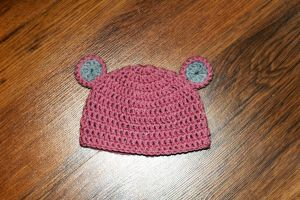 Pink Bear Crochet Hat by RaindropMelody