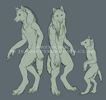 Adult Female Baby Werewolves by sugarpoultry