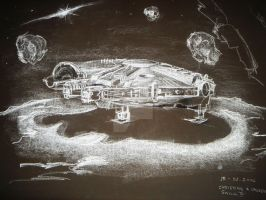 FALCON MILLENIUM IN THE MOON by Metachannel
