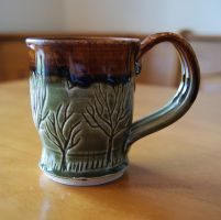 Green, Brown Tree Themed Ceramic Mug by ashynekosan