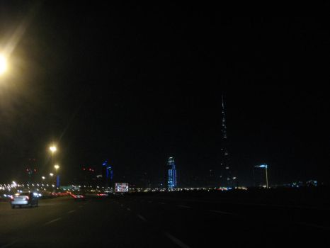 Dubai skyline at night by Aruthizar
