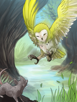 Owl and Mouse by kellaymarie