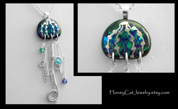 Double Dichroic Rippled Jellyfish by HoneyCatJewelry