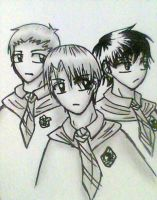 Malfoy, Crabbe, and Goyle by Snappedragon