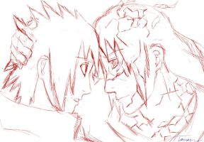 Itachi and Sasuke sketch by tomon000