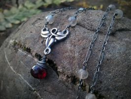 Elven Ivy -Oxidized Garnet and Labradorite by QuintessentialArts